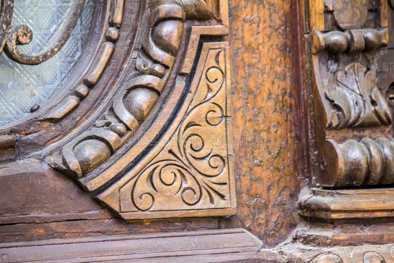 Beautiful wooden carved doors. Antique doors stock photography