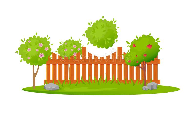 Beautiful wooden fence enclosing garden area with planting, lawn, trees. stock illustration