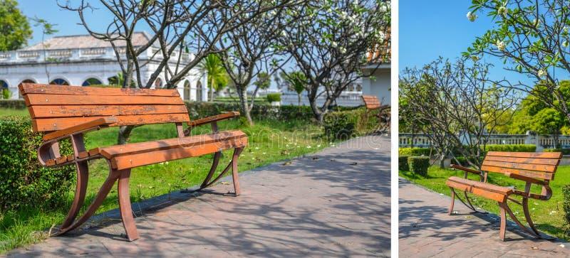 Beautiful wooden garden chair. In the garden stock images