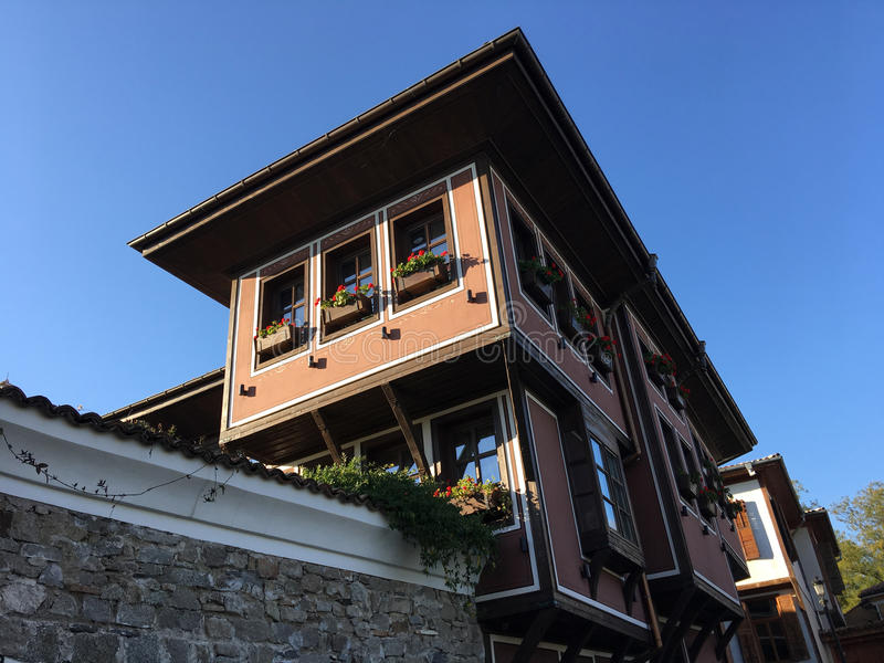 Beautiful wooden house. S in the old town of Plovidiv Bulgaria stock images