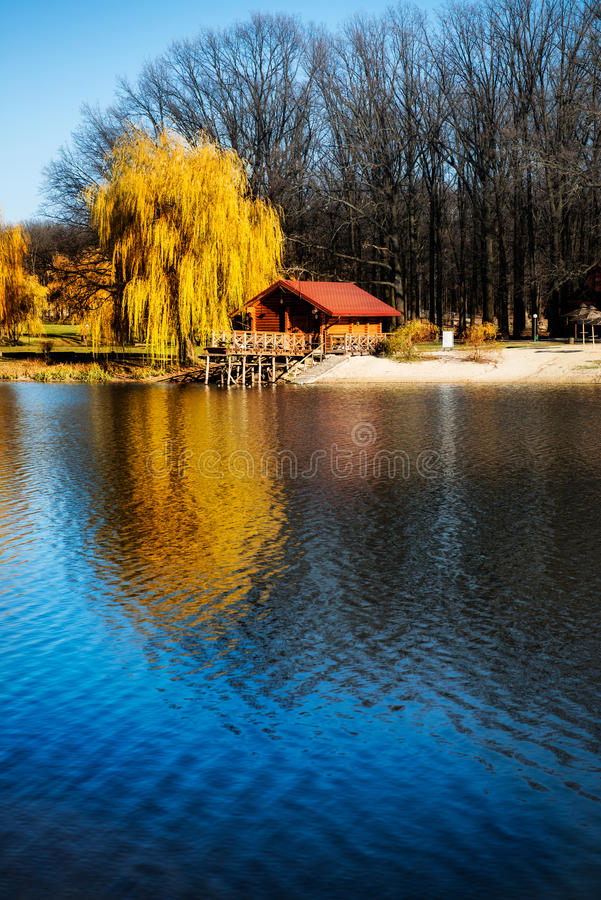 Download Beautiful Wooden House Near The River Stock Image - Image of autumn, landscape: 35377465
