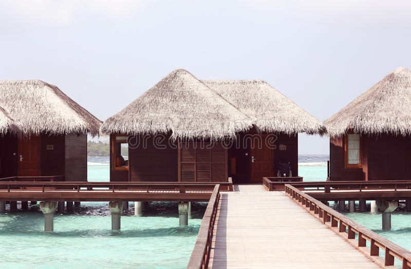 Beautiful wooden houses in Maldives. Resort stock photo