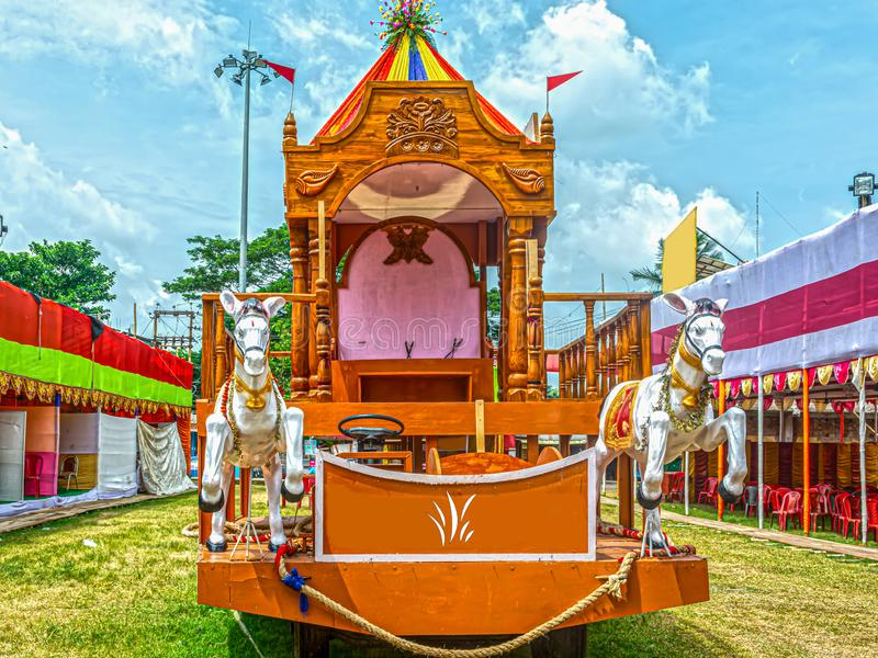 Beautiful wooden Rath or Chariot for Rath Yatra Festival. With blue sky in background stock images