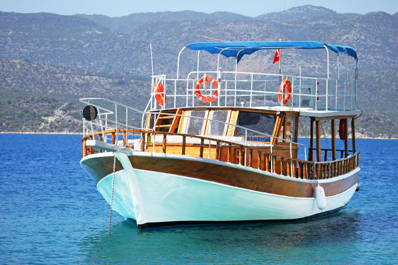 Beautiful wooden ship in Aegean sea royalty free stock images