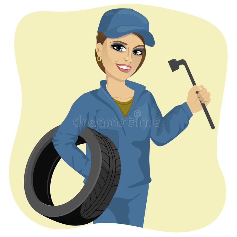 Beautiful working woman in car repair service holding tyre and wheel wrench stock illustration