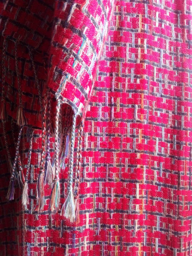 Beautiful woven fabric background Bright red stock photography