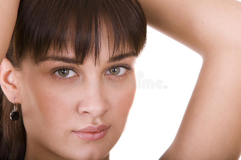 Beautiful wowan with green eyes. Isolated stock photos
