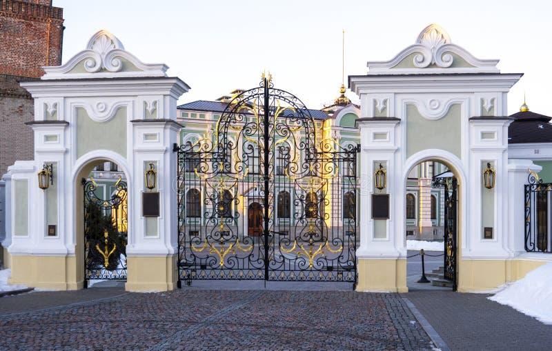 Beautiful wrought iron gates, cobbles, stucco. royalty free stock image