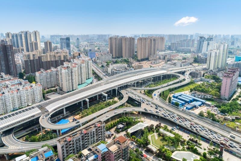 Beautiful wuhan city interchange overpass stock photography