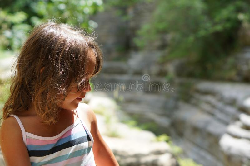 Beautiful 4 year old girl in the beautiful scenery of Papingo Rock Pools stock photos