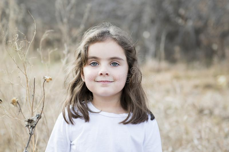 Beautiful 5-year Old Girl Outside on a Fall Day. With Dried Flowers and Sunlight stock photos
