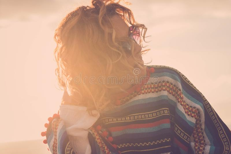 Beautiful 40 years old woman hippy with aponcho stock images