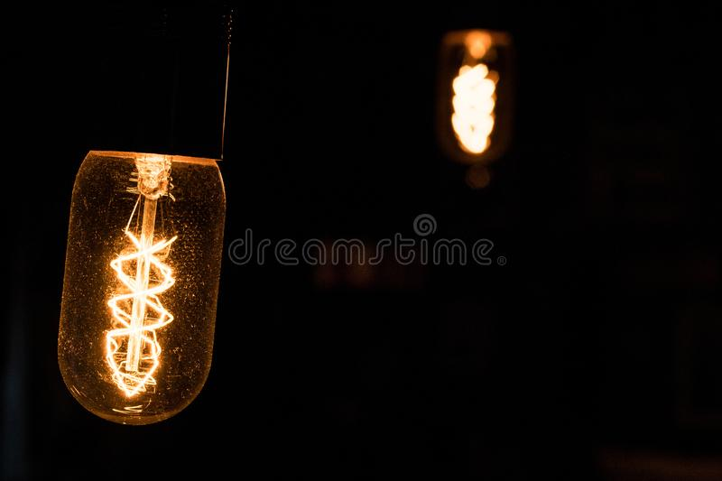 Ambient light bulbs. Beautiful yellow ambient light bulbs. Light bulbs stock images