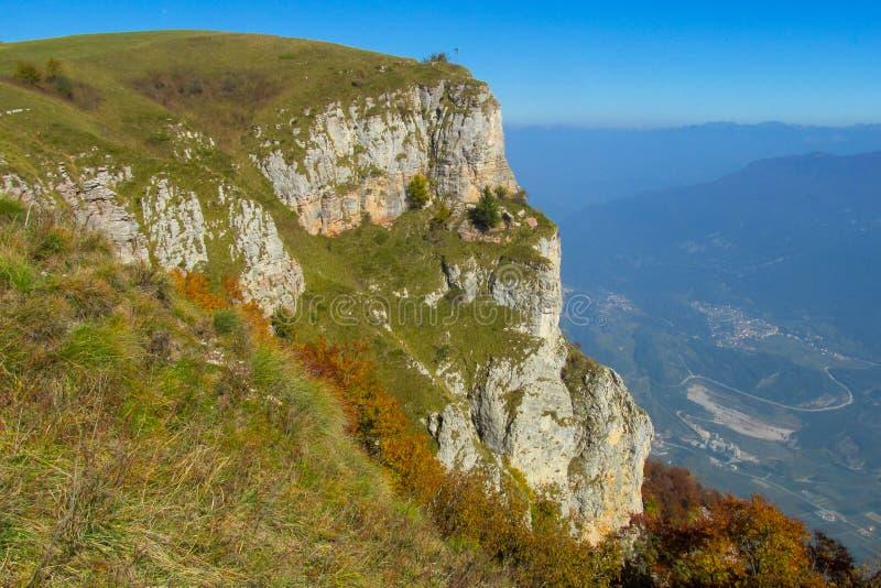 Beautiful yellow colors of autumn hills. Beautiful yellow colors of autumn in the mountain valley. Mountains and hills in autumn in Dolomite Alps stock photos