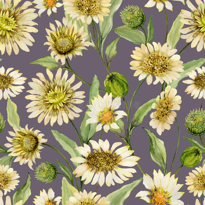 Beautiful yellow daisy flowers with green leaves on light gray background. Seamless spring pattern. Watercolor painting. Hand painted floral illustration vector illustration