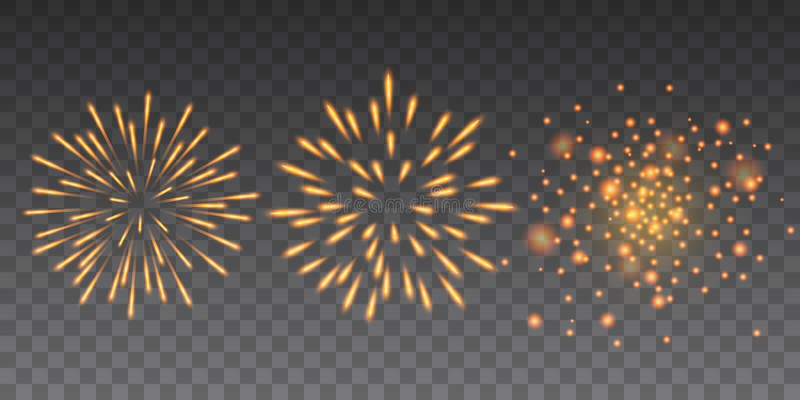 Beautiful yellow glittering fireworks Happy New Year collection on transparent background.  royalty free illustration