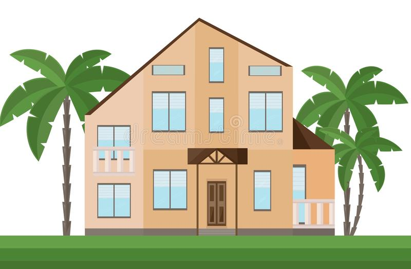 Beautiful yellow house architecture facade and palm trees Vector illustrations. Beautiful yellow house architecture facade and palm trees Vector illustration stock illustration