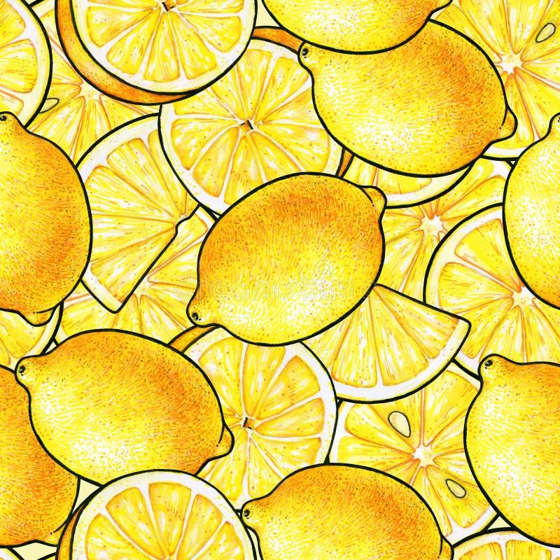 Beautiful yellow lemon fruits. Yellow background. Lemon doodle drawing. Seamless pattern royalty free illustration
