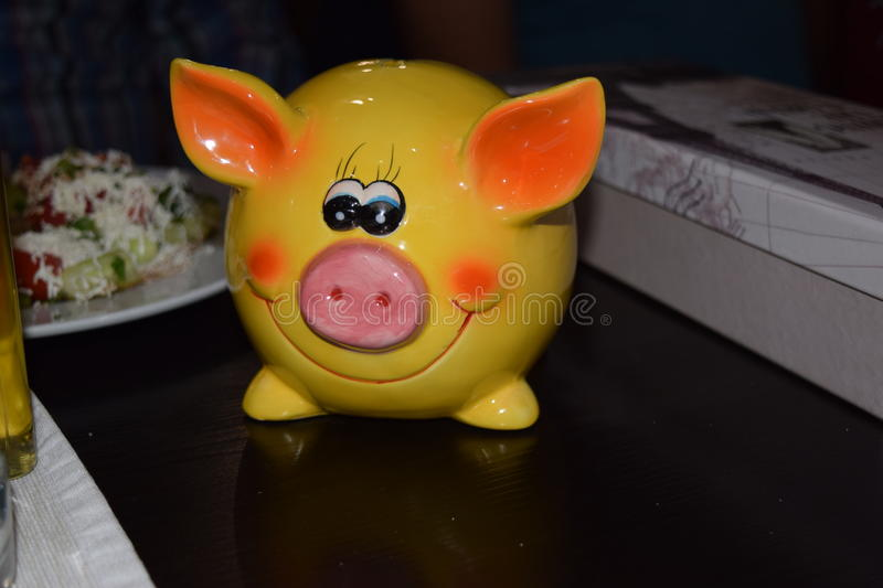 Beautiful yellow pig royalty free stock images