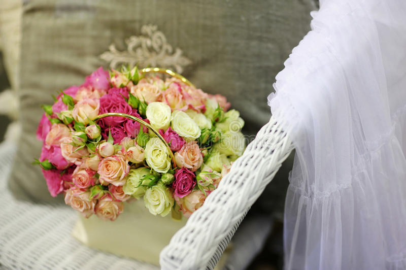 Beautiful yellow and pink roses composition royalty free stock image