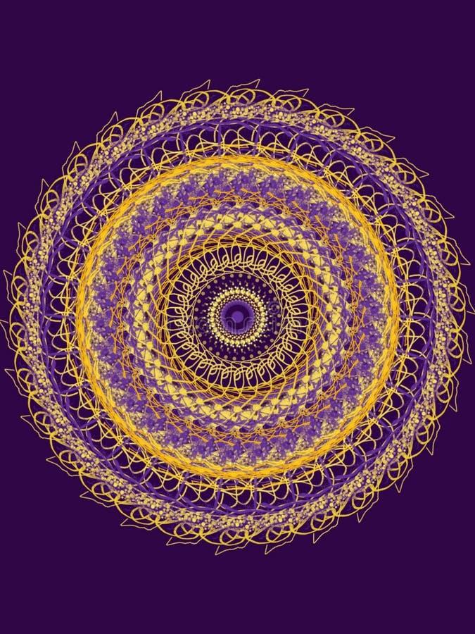 Beautiful yellow and purple mandala design - digital work of art, many ornaments. Artist, creative, symbol. Beautiful colorful mandala design - digital work of vector illustration