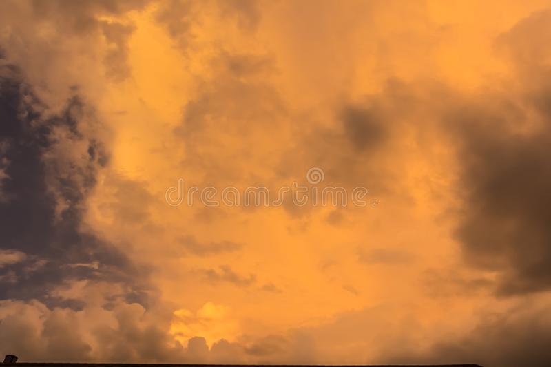 Yellow Sky Due to Mie Scattering. Beautiful yellow sky after a storm due to mie scattering in Montgomery, Alabama stock photography