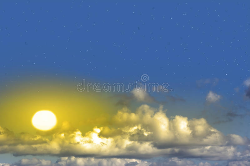 Beautiful yellow sun with clouds and stars. Beautiful yellow sun through clean white clouds with stars shining in the background royalty free stock photos