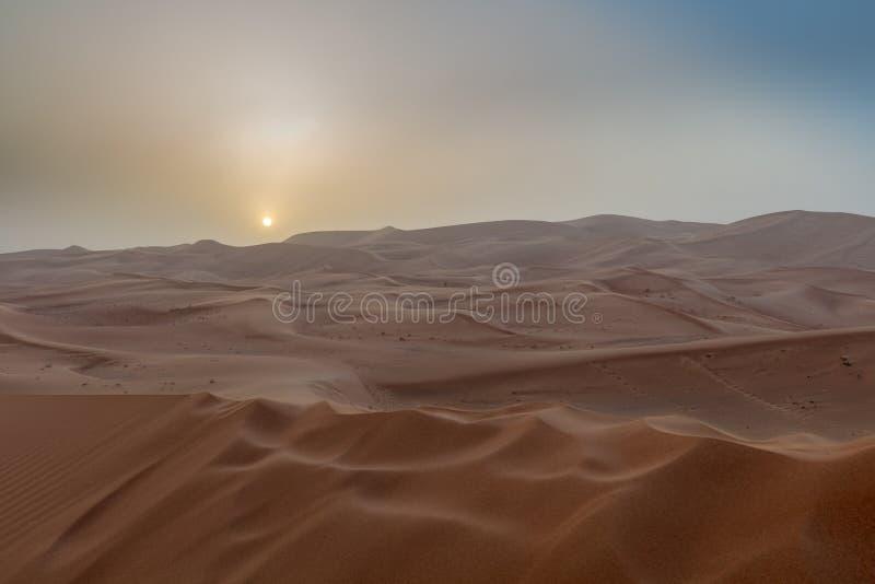 A beautiful yellow sunset in the desert. stock photos