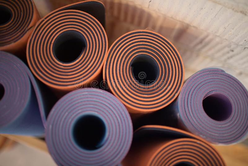 Beautiful yoga Mat in yoga class stock images