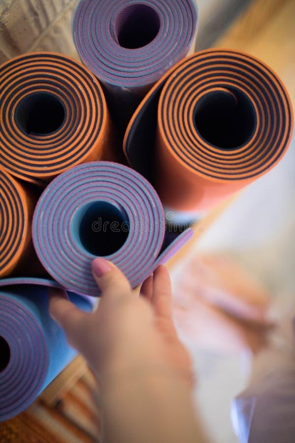 Beautiful yoga Mat in yoga class royalty free stock image