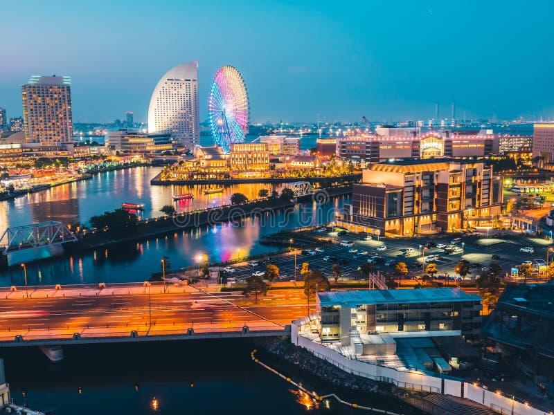 Beautiful Yokohama skyline city in japan stock image