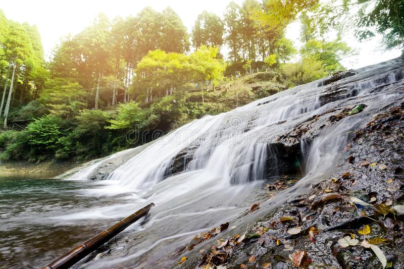 Beautiful yoro keikoku valley waterfall under morning sun in Chiba Prefecture, Japan royalty free stock images