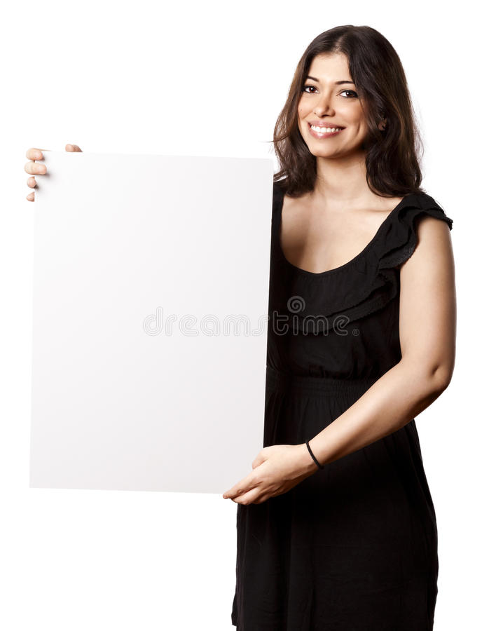 Download Isolated Happy Woman Holding Sign Royalty Free Stock Image - Image: 29978576