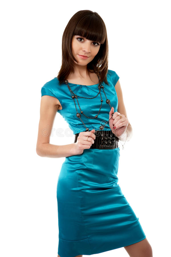 Beautiful young adult girl posing in a studio stock photo