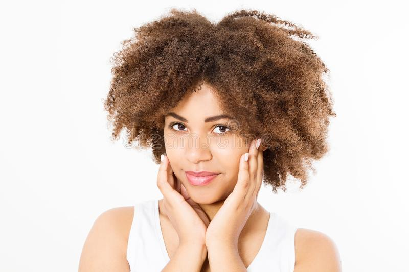 Beautiful young african american woman isolated on white background. Copy space. Mock up. Skin care, spa and make up concept. Afro. Girl curly hair royalty free stock images