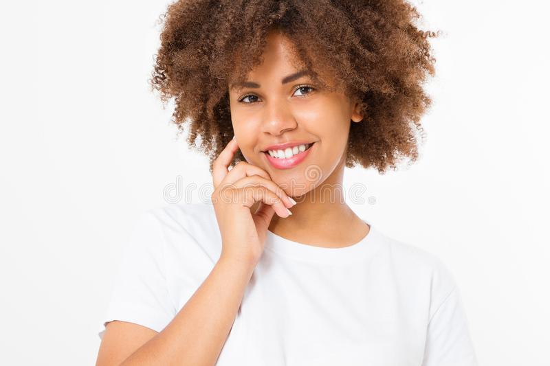 Beautiful young african american woman isolated on white background. Copy space. Mock up. Skin care, spa and make up concept. Summer time. Afro girl curly hair royalty free stock image