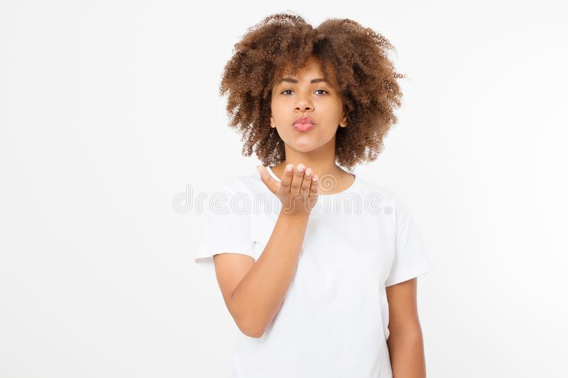Beautiful young african american woman send kiss isolated on white background. Copy space. Mock up. Skin care, spa and make up. Concept. Summer time. Afro girl royalty free stock images