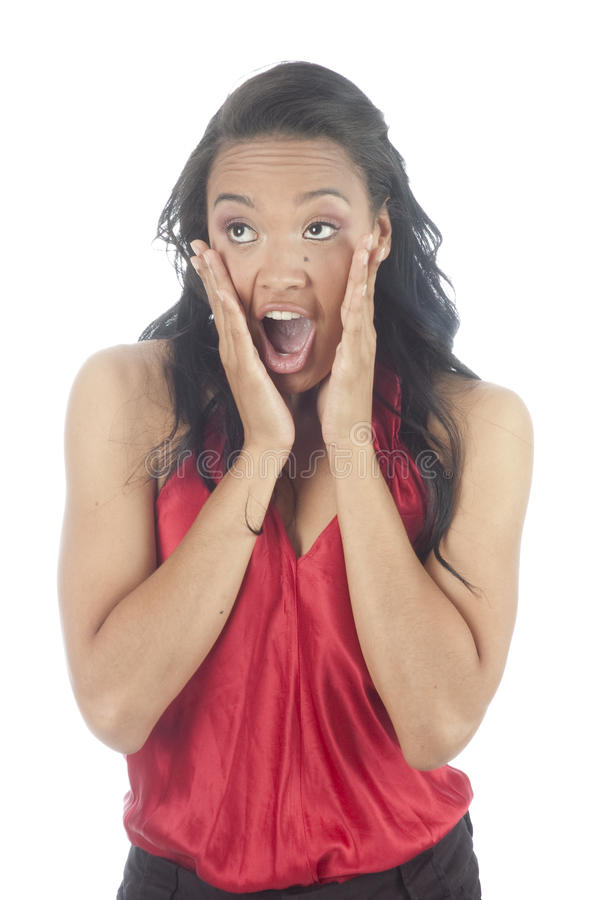 Download Beautiful Young African American Woman Surprised Stock Photo - Image: 9845248
