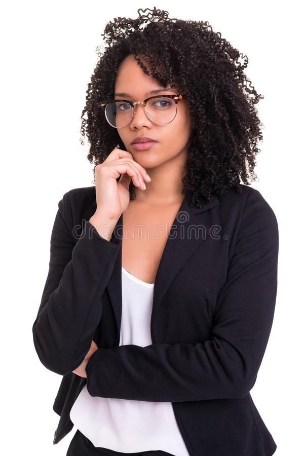 African business woman. Beautiful young african business woman posing isolated over white royalty free stock photos