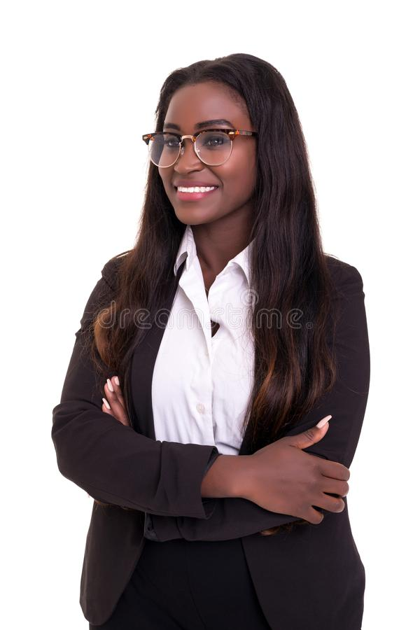 African business woman. Beautiful young african business woman posing isolated over white stock photography