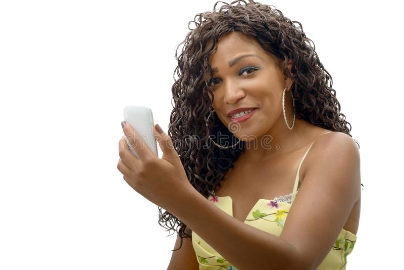 Beautiful young african woman with cell phone royalty free stock photography