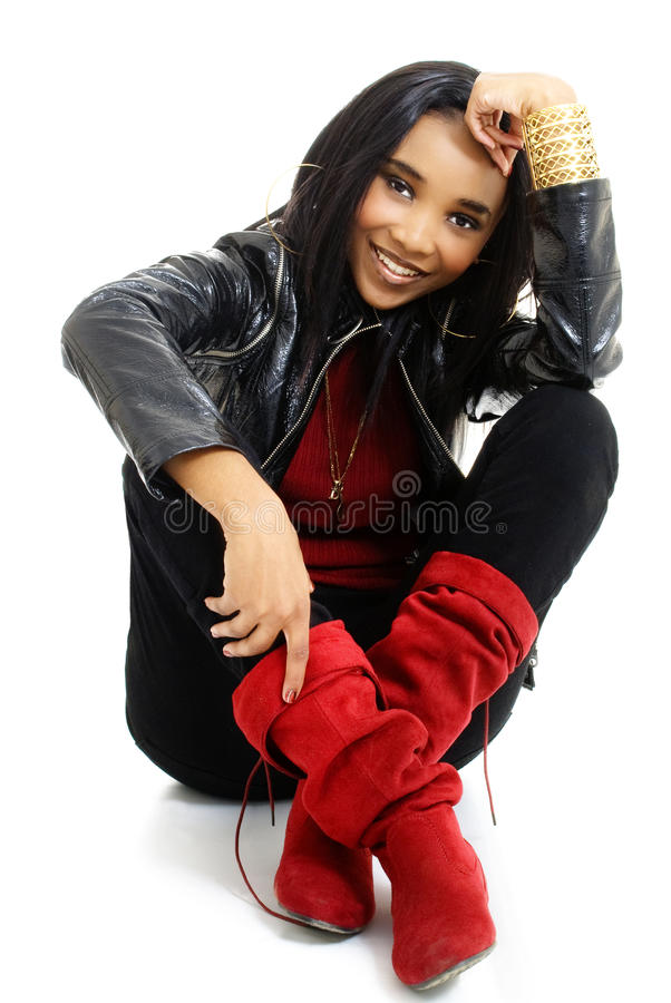 Beautiful Young African Woman Dressed in Red and Black stock photo