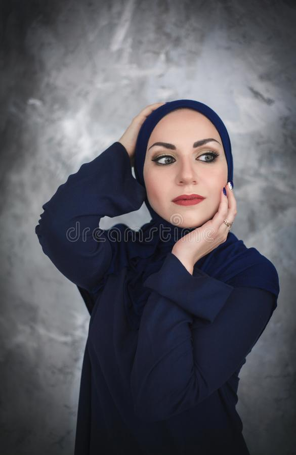 Beautiful young arab woman in traditional dress in the studio stock photos