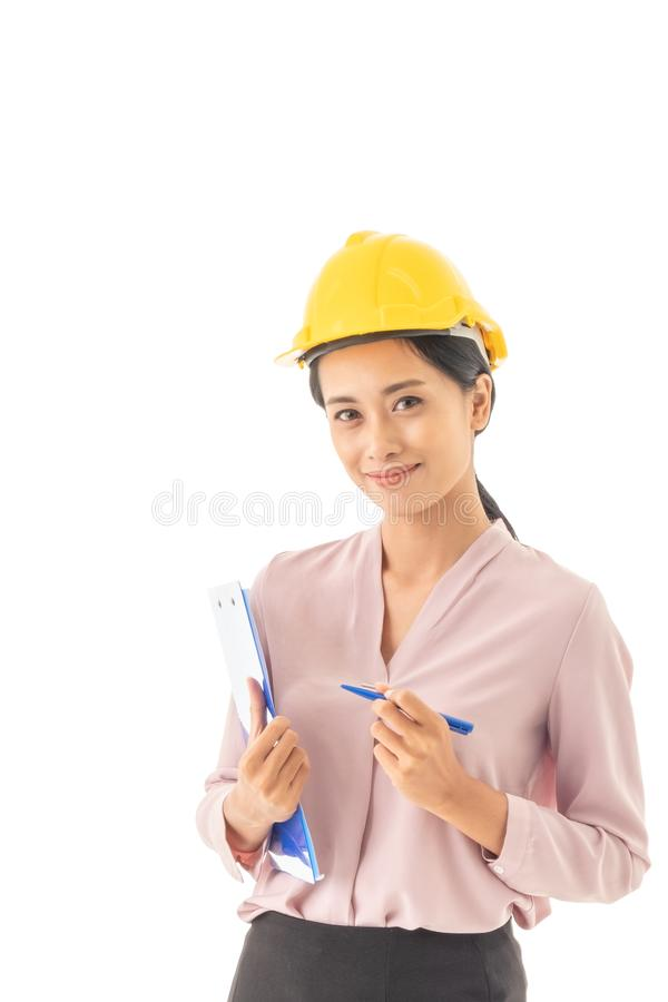 Beautiful young Asian Business woman holding files royalty free stock images