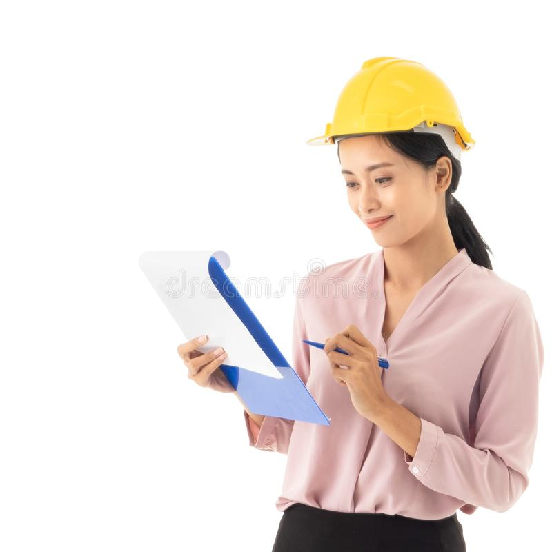 Beautiful young Asian Business woman holding files royalty free stock photos