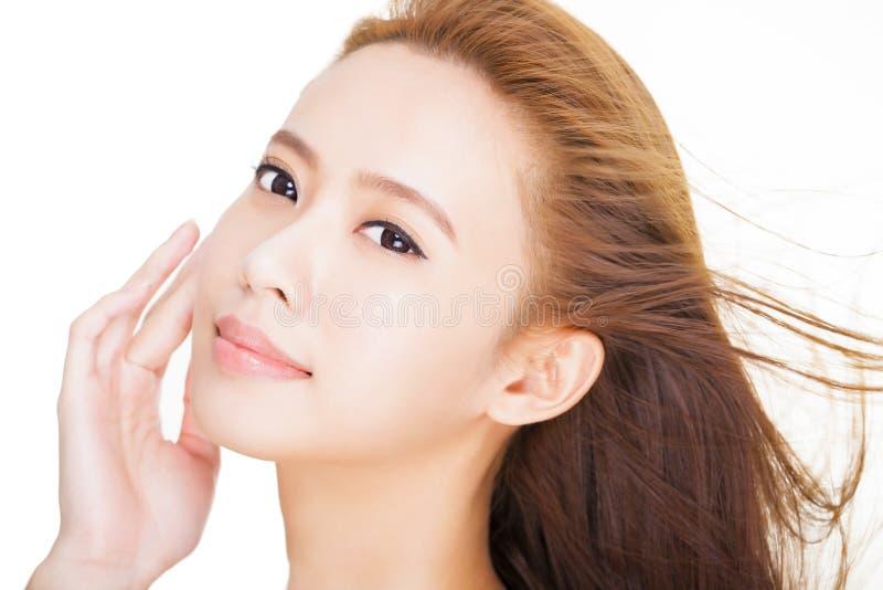 Beautiful young asian woman face. Closeup Beautiful young asian woman face stock images