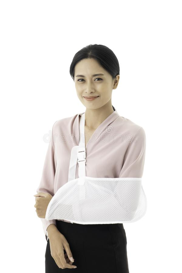 Beautiful young Asian woman is injured with a broken stock images