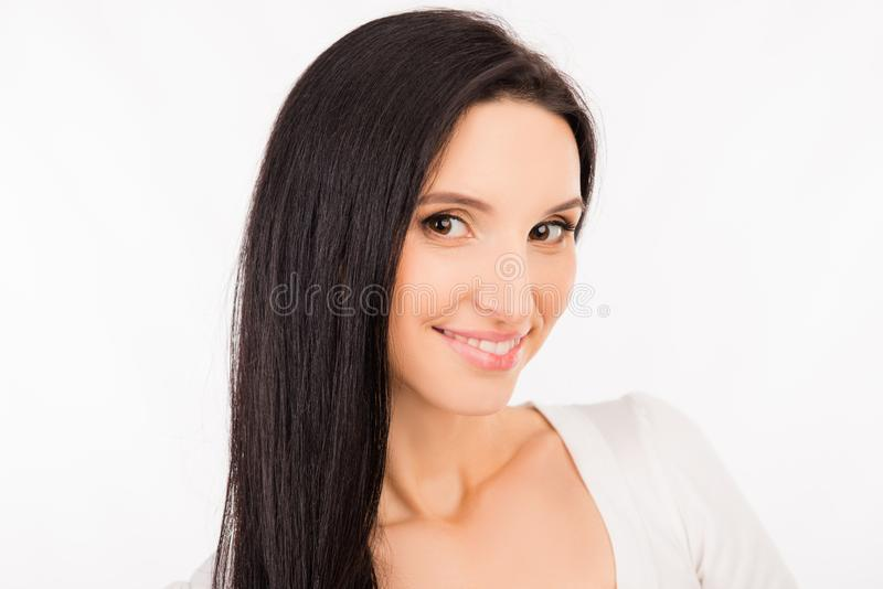 Beautiful young asian woman with long hair smiling stock photography