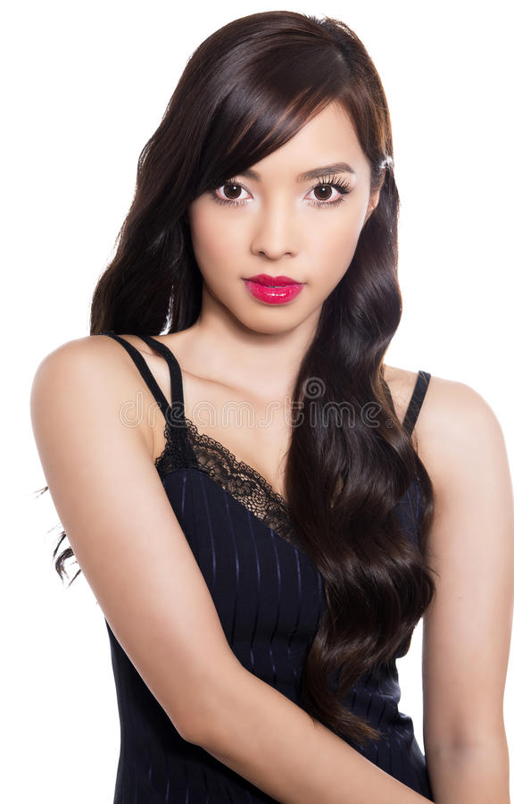 Beautiful young asian woman with perfect skin on isolated background stock photos