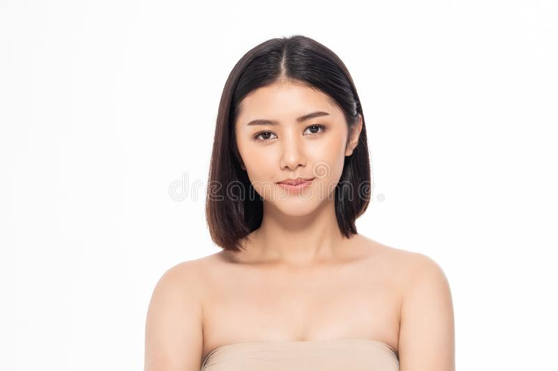 Beautiful Young Asian Woman short hair  with Clean Fresh Skin. Face care, Facial treatment, Cosmetology, beauty and healthy skin. And cosmetic ideas concept royalty free stock photo